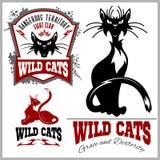 Czarny i biały koty - wektoru set Wektorowy szablon dla loga i tatuażu ilustracja wektor