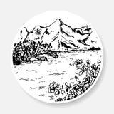 Czarny i biały krajobraz w postaci nakreślenia Obraz Royalty Free