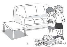 Czarny i biały kreskówka dwa chłopiec bawić się piłkę, słój łamający - kreskówka wektor Royalty Ilustracja