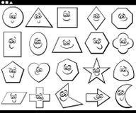 Czarny i biały kreskówki podstawowi geometryczni kształty Obraz Royalty Free