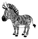 Czarny i biały kreskówki zebra Fotografia Stock