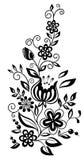 Czarny i biały kwiaty i liście. Kwiecisty projekt   Obrazy Stock