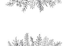 Czarny i biały kwiecista ręka rysujący domu wiejskiego styl zarysowywający kapuje gałąź chodnikowa granicy tło ilustracja wektor