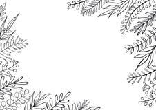 Czarny i biały kwiecista ręka rysujący domu wiejskiego styl zarysowywający kapuje gałąź ramy granicy tło ilustracja wektor