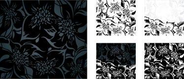 Czarny i biały kwiecisty wakacyjny tło set Zdjęcie Royalty Free