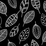 Czarny i biały liścia wzór Obraz Stock