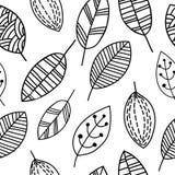 Czarny i biały liścia wzór ilustracji