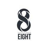 Czarny i biały liczby osiem logo robić abstrakcjonistyczni kształty Zdjęcia Stock