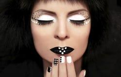 Czarny i biały makijaż. Zdjęcie Royalty Free