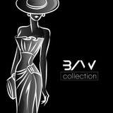 Czarny I Biały mody kobiety sylwetka, piękny moda model na czarnej tło loga ilustraci Obraz Stock