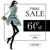 Czarny i biały mody sprzedaży sztandar z kobiety mody sylwetką, online zakupy reklam sieci ogólnospołeczny medialny szablon z pię Fotografia Royalty Free