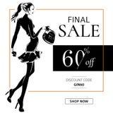 Czarny i biały mody sprzedaży sztandar z kobiety mody sylwetką, online zakupy reklam sieci ogólnospołeczny medialny szablon z pię Obrazy Royalty Free