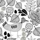 Czarny i biały niekończący się tło z natura elementami i doodle ptakiem Obrazy Stock