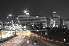 Czarny i biały noc widok w Izmir mieście Obrazy Royalty Free