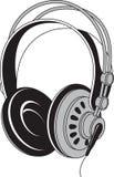 Czarny i biały odosobniona ilustracja hełmofonu akustyczny dev ilustracja wektor