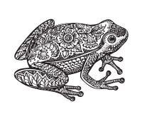Czarny i biały ozdobna doodle żaba w grafika stylu Zdjęcie Stock