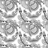 Czarny i biały ozdobny bezszwowy kwiat Paisley Fotografia Royalty Free