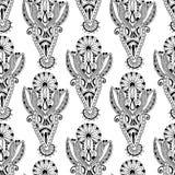Czarny i biały ozdobny bezszwowy kwiat Paisley Obrazy Royalty Free