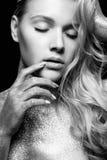 Czarny i biały piękno portret Zdjęcia Stock