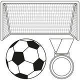 Czarny i biały piłki nożnej piłka, brama, medal ikony set zdjęcia stock