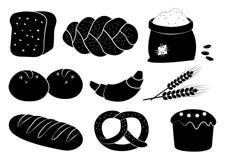 Czarny i biały piekarnia set, wektorowa ilustracja ilustracja wektor