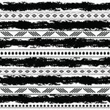Czarny i biały plemienny wektorowy bezszwowy wzór z doodle elementami Aztek sztuki abstrakcjonistyczny geometryczny druk ethnic ilustracja wektor