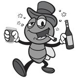 Czarny I Biały Prętowa komarnica z winem Fotografia Stock