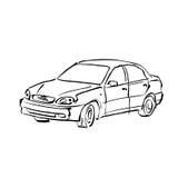 Czarny i biały ręka rysujący samochód na białym tle, ilustrującym Fotografia Royalty Free