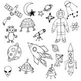 Czarny i biały ręka rysujący set astronautyczni przedmioty ilustracja wektor