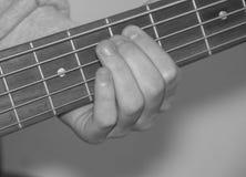 Czarny i biały, ręko na fretboard i sznurku Gu, Obraz Stock