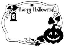 Czarny i biały rama z Halloweenową dyniową sylwetką Obrazy Stock