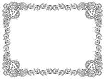 Czarny i biały rama z konturu aniołeczkiem w rocznika stylu Obrazy Stock