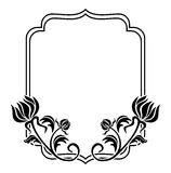 Czarny i biały rama z kwiat sylwetkami Raster klamerki sztuka obraz stock