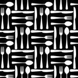 Czarny i biały rozwidlenie łyżka i knide bezszwowy wzór, wektor royalty ilustracja