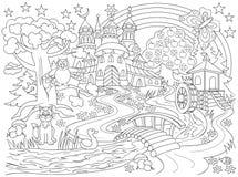 Czarny i biały rysunek bajkowy kraj Średniowieczny kasztel w magicznym lesie dla barwić Worksheet dla dzieci i dorosłych Zdjęcia Stock