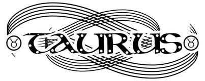 Czarny i biały słowa taurus tatuaż odizolowywający royalty ilustracja