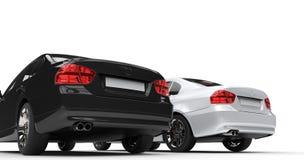Czarny i biały samochody - taillights zdjęcie stock