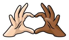 Czarny I Biały serce ręki royalty ilustracja