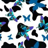 Czarny i biały skóra wołowa łączył z błękitnymi motylami, bezszwowy wzór Wektorowy t?o ilustracji