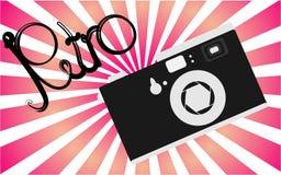 Czarny i biały stary, retro, rocznik, antyk, modniś kamera z piękną retro inskrypcją na tle purpurowi promienie ilustracji