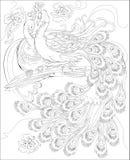 Czarny i biały strona dla barwić Fantazja rysunek paw para Worksheet dla dzieci i dorosłych Zdjęcie Royalty Free