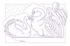 Czarny i biały strona dla kolorystyki książki Fantazja rysunek par piękni łabędź Świątobliwy walentynki kartka z pozdrowieniami ilustracja wektor