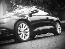 Czarny i biały strzał wolkswagena samochód Obraz Stock