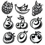 Czarny I Biały Stylizowane Owocowe ikony royalty ilustracja