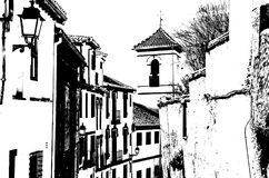 Czarny i biały sylwetka kościół w Granada, Hiszpania Obraz Stock
