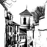 Czarny i biały sylwetka kościół w Granada, Hiszpania Zdjęcia Royalty Free