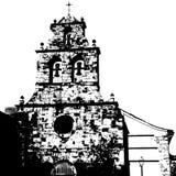 Czarny i biały sylwetka stary kościół obrazy stock