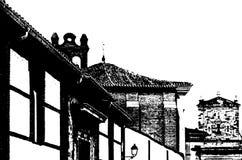 Czarny i biały sylwetka stary kościół zdjęcia royalty free