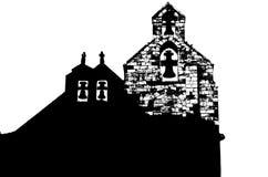 Czarny i biały sylwetka stary kościół zdjęcia stock