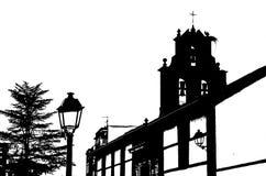 Czarny i biały sylwetka stary kościół zdjęcie royalty free